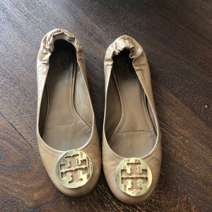 Tory Burch tan patent leather flats